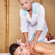 Young woman on massage table in beauty spa. Series. — Stock Photo #3901111