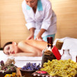 Young woman on massage table in beauty spa. — Stock Photo #3901154
