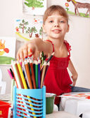 Child drawing colour pencil in preschool. — Stock Photo