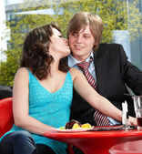 Couple on date in restaurant. — Stock Photo