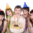 Group of teenagers celebrate happy birthday. — Stock Photo