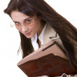 Girl with old book. — Stock Photo
