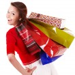 Happy girl with group shopping bag. - Stockfoto