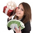 Girl in business suit  with money, red gift box. — Stock Photo