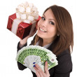 Stock Photo: Girl in business suit with money, red gift box.