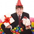 Businessman birthday with gift box. — Stock Photo