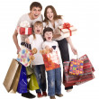 Stock Photo: Happy family and children shopping.