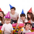 Happy family with children in party hat. — Stock Photo #3916258