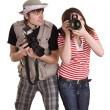 Photographer couple with digital camera. — Stock Photo