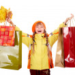 Girl in autumn orange  hat with  leaf group, shopping bag. — Stock Photo