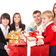 Happy family with red gift box. — Stock Photo #3916860