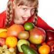Child girl with group of fruit. — Stock Photo #3917002