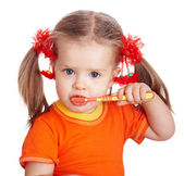 Child girl clean brush teeth. — Foto Stock