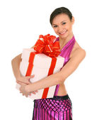 Woman with white gift box. — Stock Photo