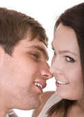 Couple of girl and man kiss. Love. — Stock Photo