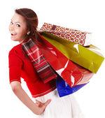 幸せな女の子グループの買い物袋. — ストック写真