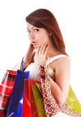 Happy girl with bag shopping. — Stok fotoğraf