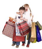 Niño y niña con bolso de compras. — Foto de Stock