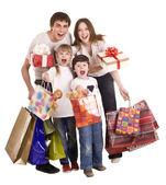 Família feliz e crianças shopping. — Foto Stock