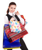 Businesswoman with shopping bag. — Stock Photo