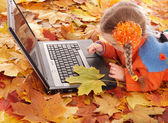Child in autumn orange leaves with laptop. — Stock Photo