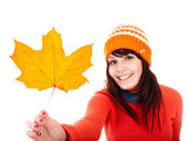 Girl in autumn orange maple leaf. Fall discount. — Stock Photo