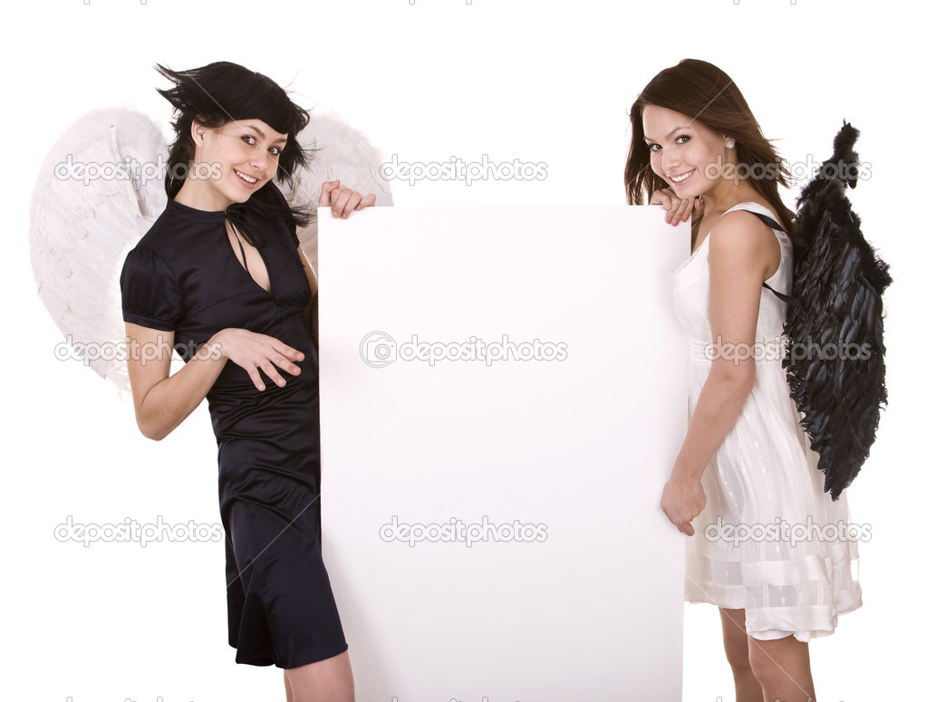 Group o fhalloween angel with banner. Isolated. — Stock Photo #3915609