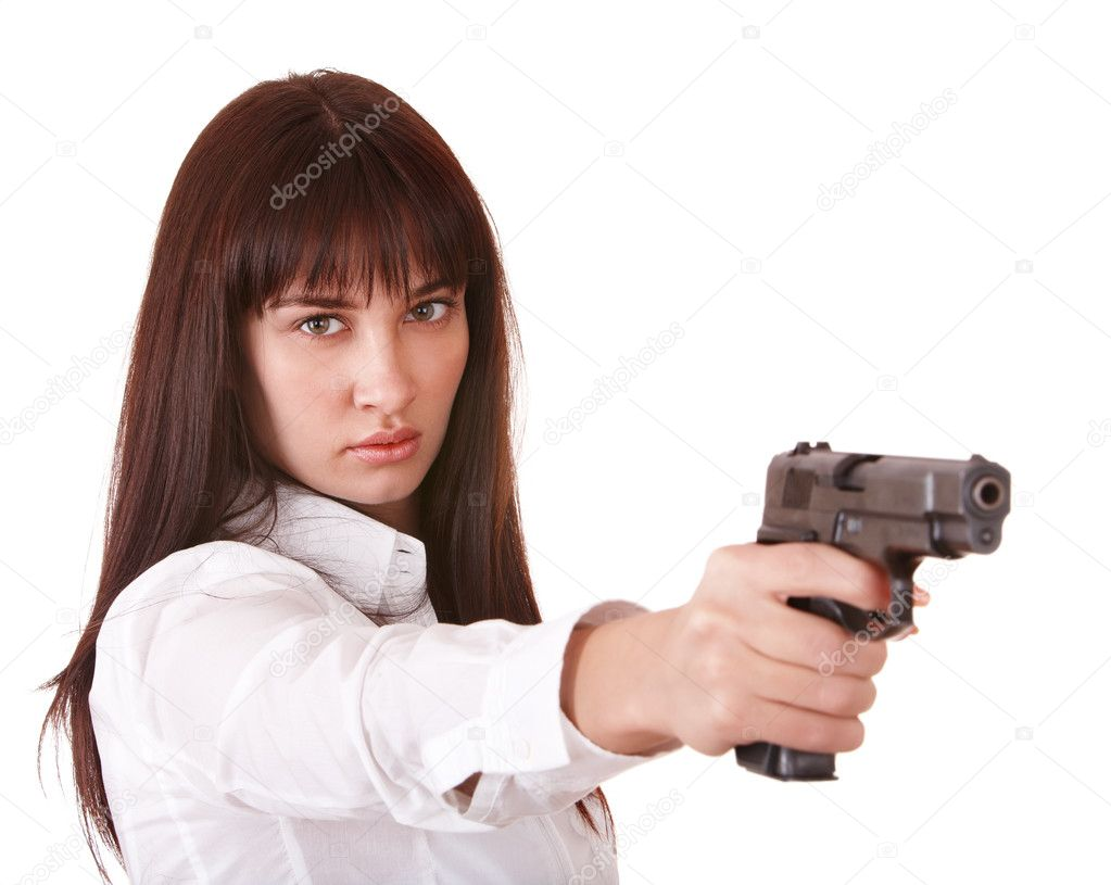 Beautiful young woman with gun. Isolated. — Stock Photo #3915848