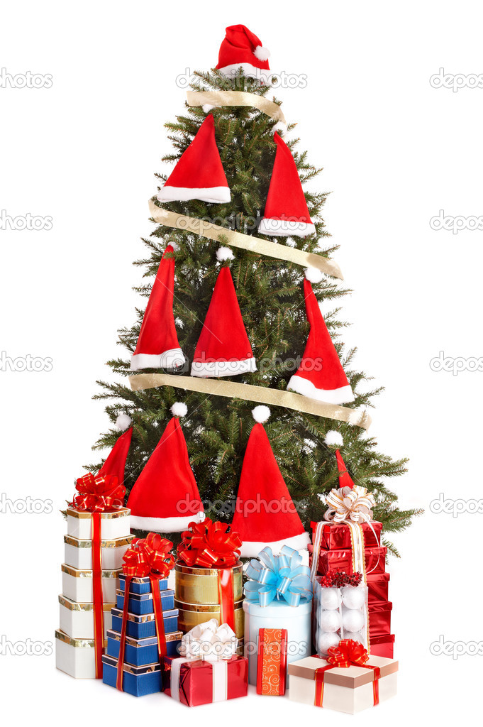 Christmas tree with santa hat and group gift box. Isolated. — Stock Photo #3916914