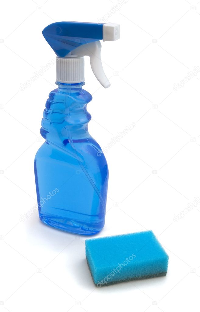Blue window cleaner and sponge isolated on white — Stock Photo #2740435