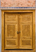 Carved wooden door — Stock Photo