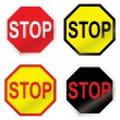 Stock Vector: Stop road sign variation
