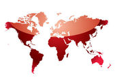 World map reflect red — Vector de stock