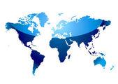 World map reflect blue — Stock Vector