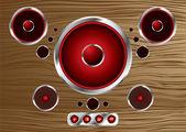 Wood speaker — Stock Vector