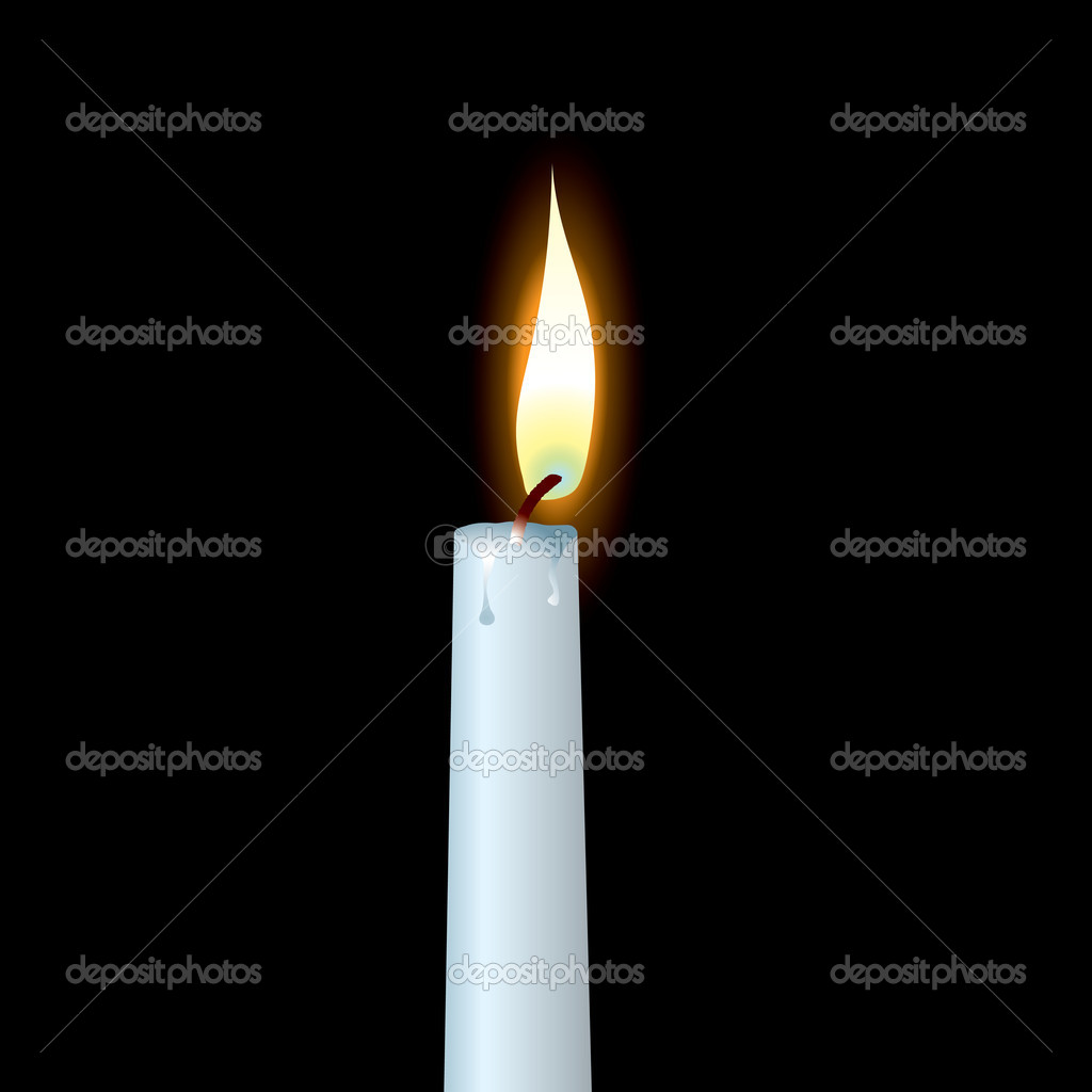 White candle with wax dribble and buring flame — Stock Vector #3408689