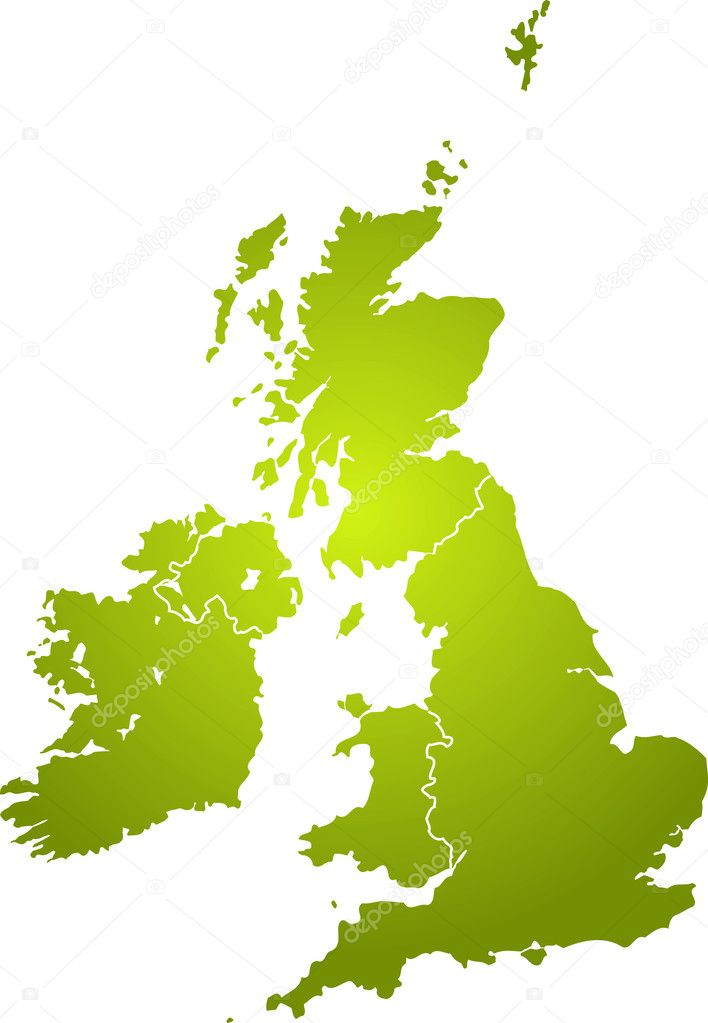 Illustration of the british isles in different shades of green isolated from the background — Stock Vector #3409471