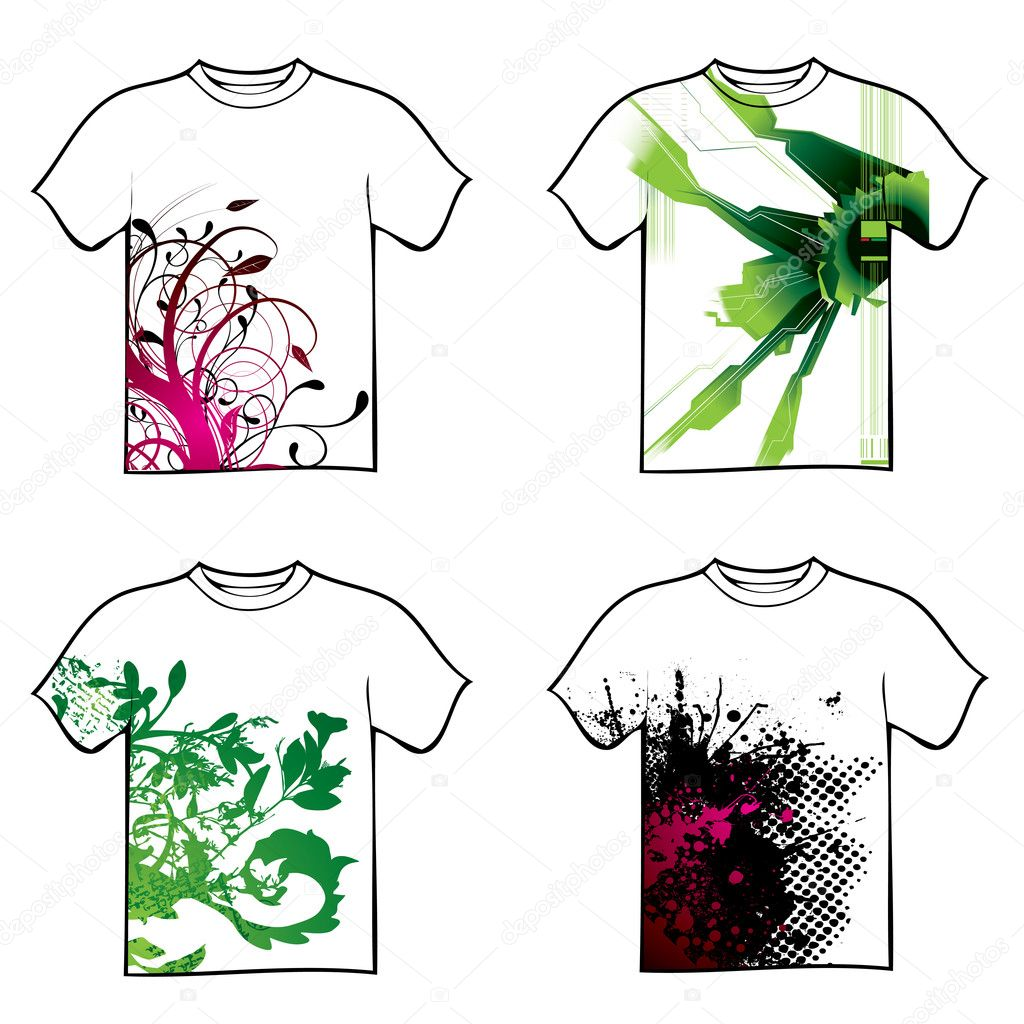 Tshirt design - Collection Of Four Tshirt Design With Floral And Ink Vector By Nicemonkey