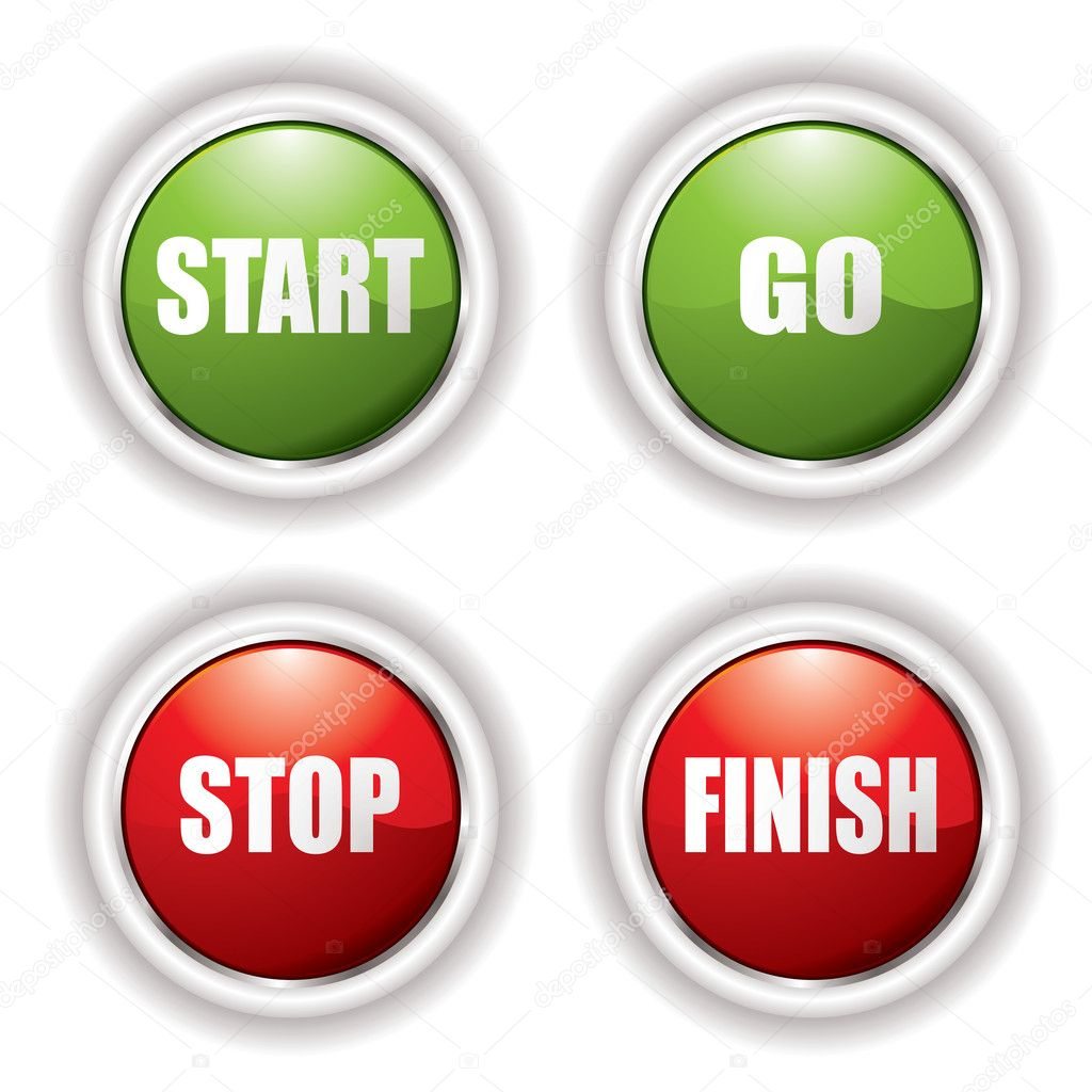 Stop start buttons in red and green with silver bevel — Stock Vector #3409980