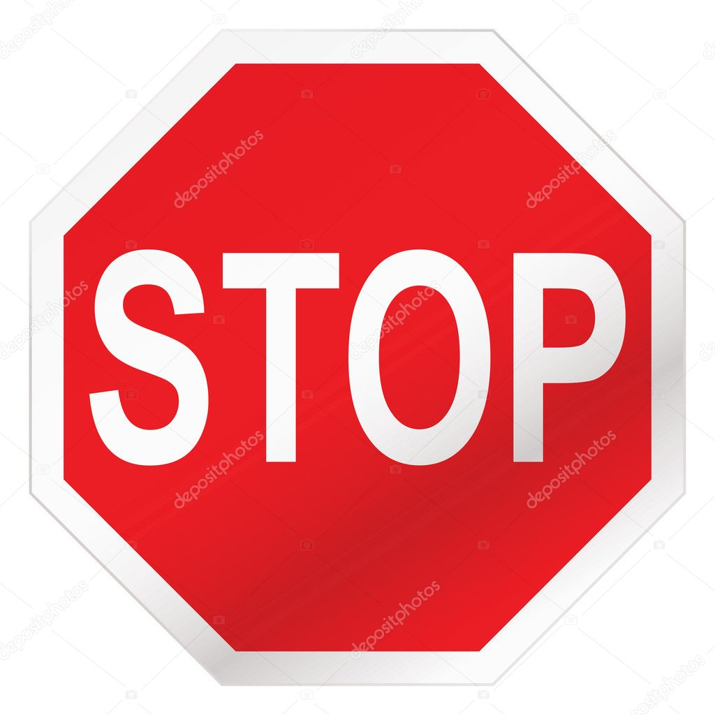 Red stop road sign illustration with white background — ベクター素材ストック #3409983