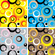 Stock Vector: Seventies circles multi