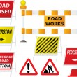 Stok Vektör: Road works signs
