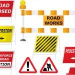 yol çalışmaları işaretleri — Stok Vektör