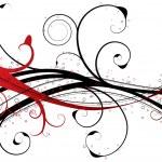 Постер, плакат: Red floral swirl