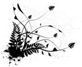 Silhouet zwart floral — Stockvector