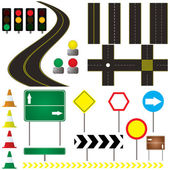 Collection of road markings and sign that can be used in your own design — Stock Vector