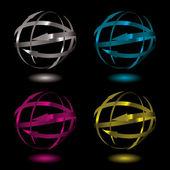 Arrow metal ball — Stock Vector