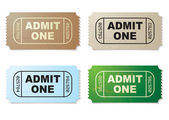 Admit one ticket set — Stock Vector