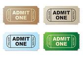 Admit one ticket set — Stock Vector