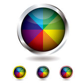 Beach ball button — Stock Vector